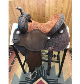"Martin Saddlery 14"" Tooled Rose Nutmeg Suede Fearless by Lisa Lockhart Barrel Saddle"