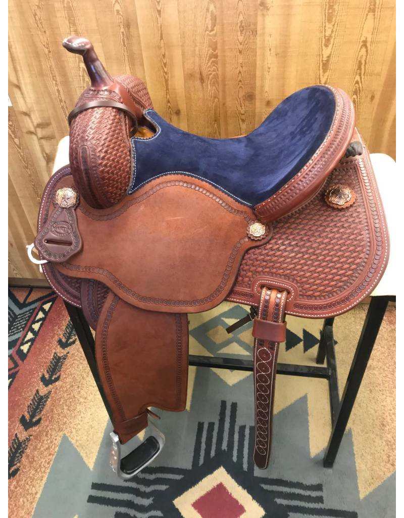 "Martin Saddlery 14.5"" Chestnut Roughout Navy Suede Fearless by Lisa Lockhart Barrel Saddle"