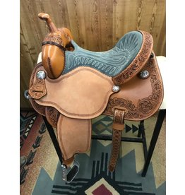 "Martin Saddlery 14.5"" Alpine Grey Suede Fearless by Lisa Lockhart Barrel Saddle"