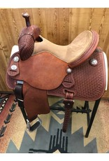 "Martin Saddlery 14.5"" Chestnut Tooled Snowflake Medium Oil Tan Stingray Barrel Saddle"