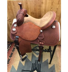 "Martin Saddlery 14.5"" Chestnut Tooled Snowflake Medium Oil Tan Stingray Barrel Saddle"