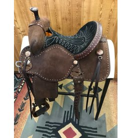 "Martin Saddlery 13.5"" Chocolate Roughout Black Suede Stingray Barrel Saddle"