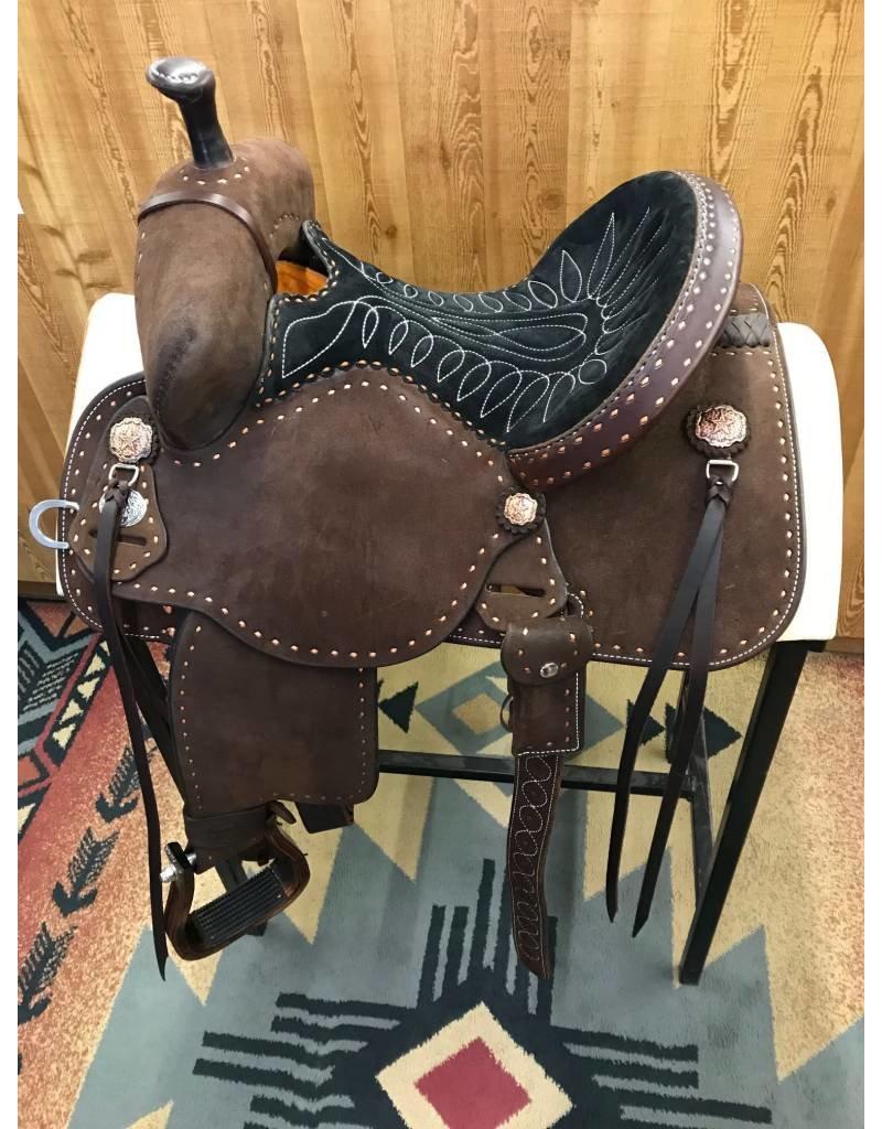 """Martin Saddlery 13.5"""" Chocolate Roughout Black Suede Stingray Barrel Saddle"""