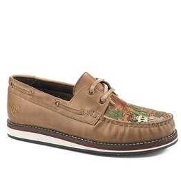 Roper Bertha Tan Burnished Desert Scene Leather Moc