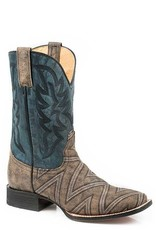 Roper Ronald Geometric Embroidered Sanded Blue Square Toe Boots