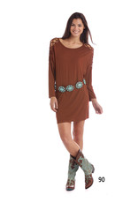Panhandle Slim White Label Bronze Long Sleeve Knit Dress