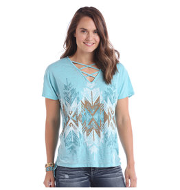 Panhandle Slim Ladies' Criss Cross Blue Colorwash Tee