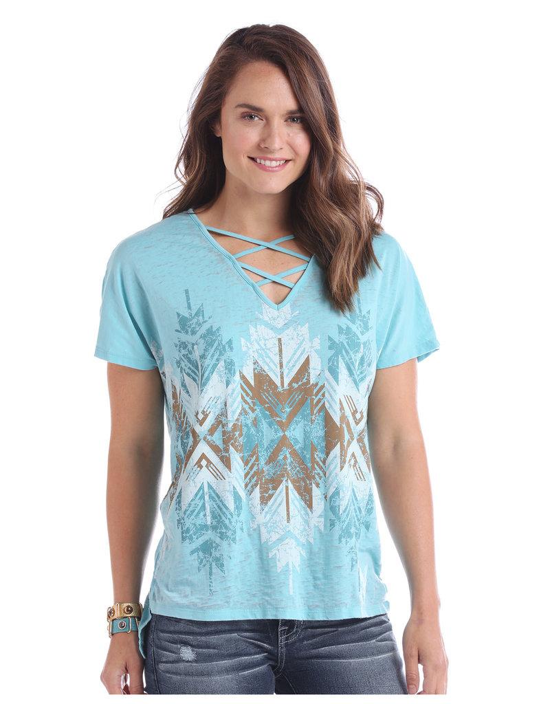 Panhandle Slim Ladies' Criss Cross Blue Colorwash Tee