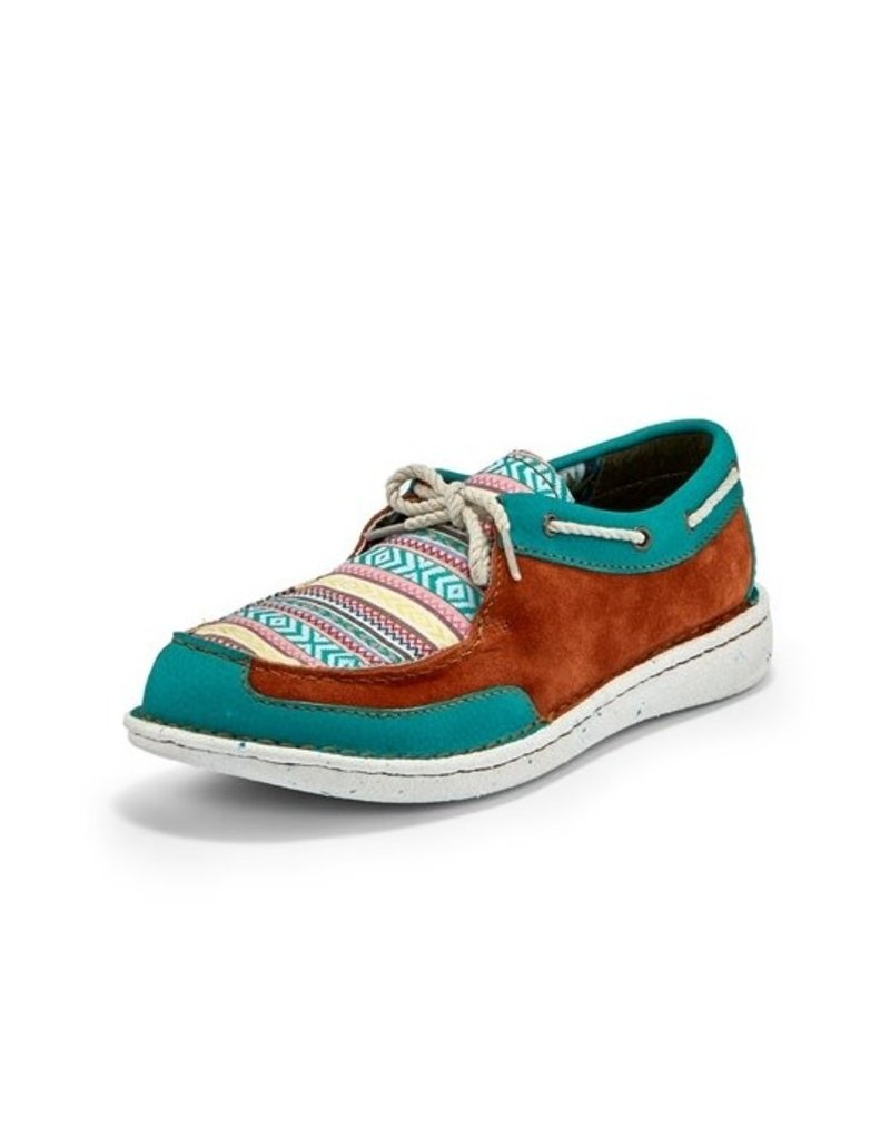 Justin Brands Turquoise Rust Multi Leather Boat Shoes