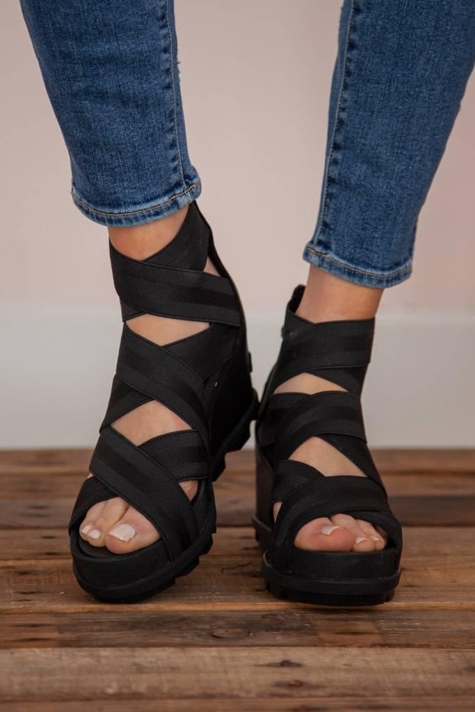 8bcdecdcafe Sorel - Joanie II Strap Wedge Sandal - Black - Flutter