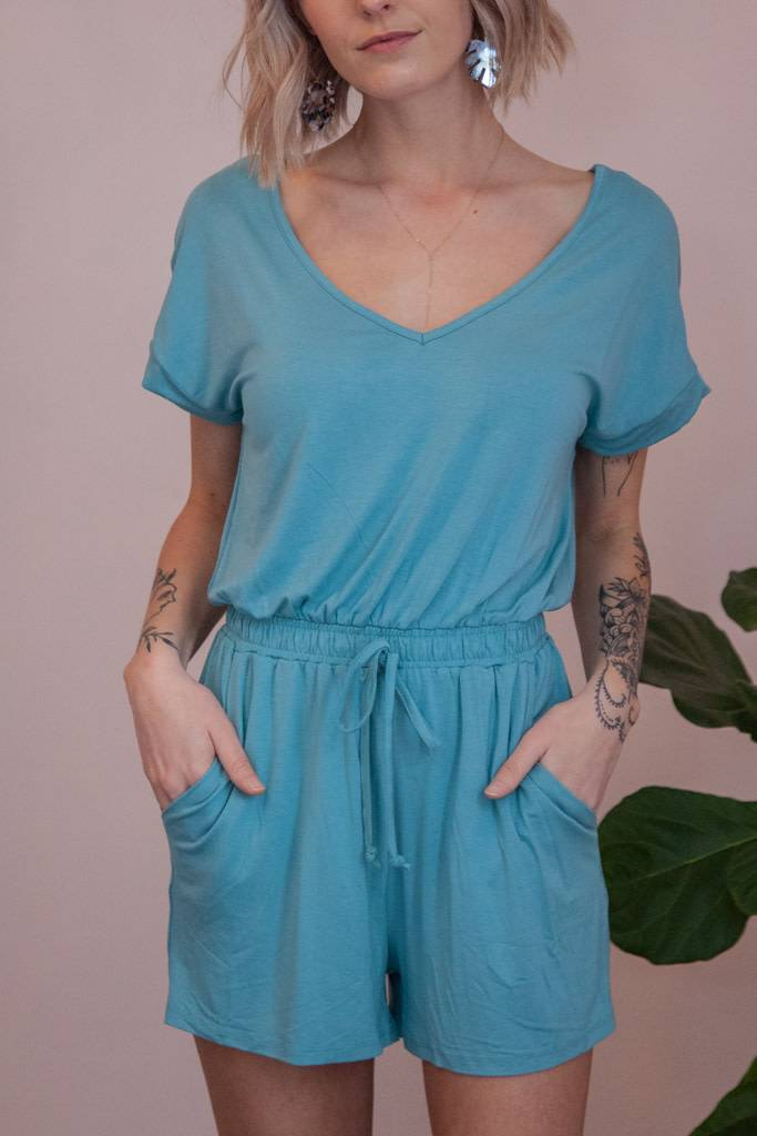 2c0cb8fcf36 The Blaire Sleek Jersey Romper - Dusted Jade