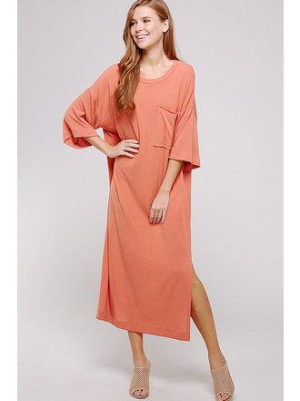 d091e2b61ea Kandy Oversized T-Shirt Maxi Dress - Orange - Medium