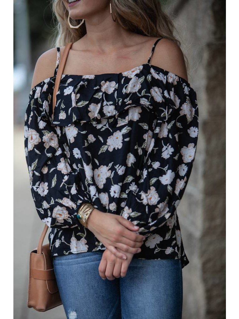 377c59cc Ada Off The Shoulder Ruffle Top - Black Floral - Flutter