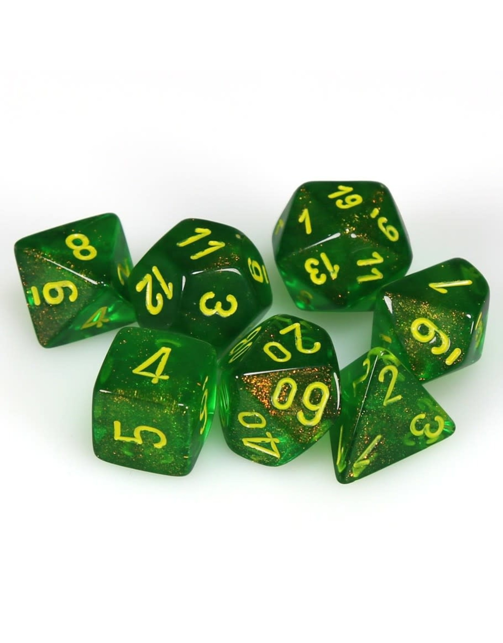 Chessex Chessex: 7-Die Set: Borealis - Maple Green/Yellow