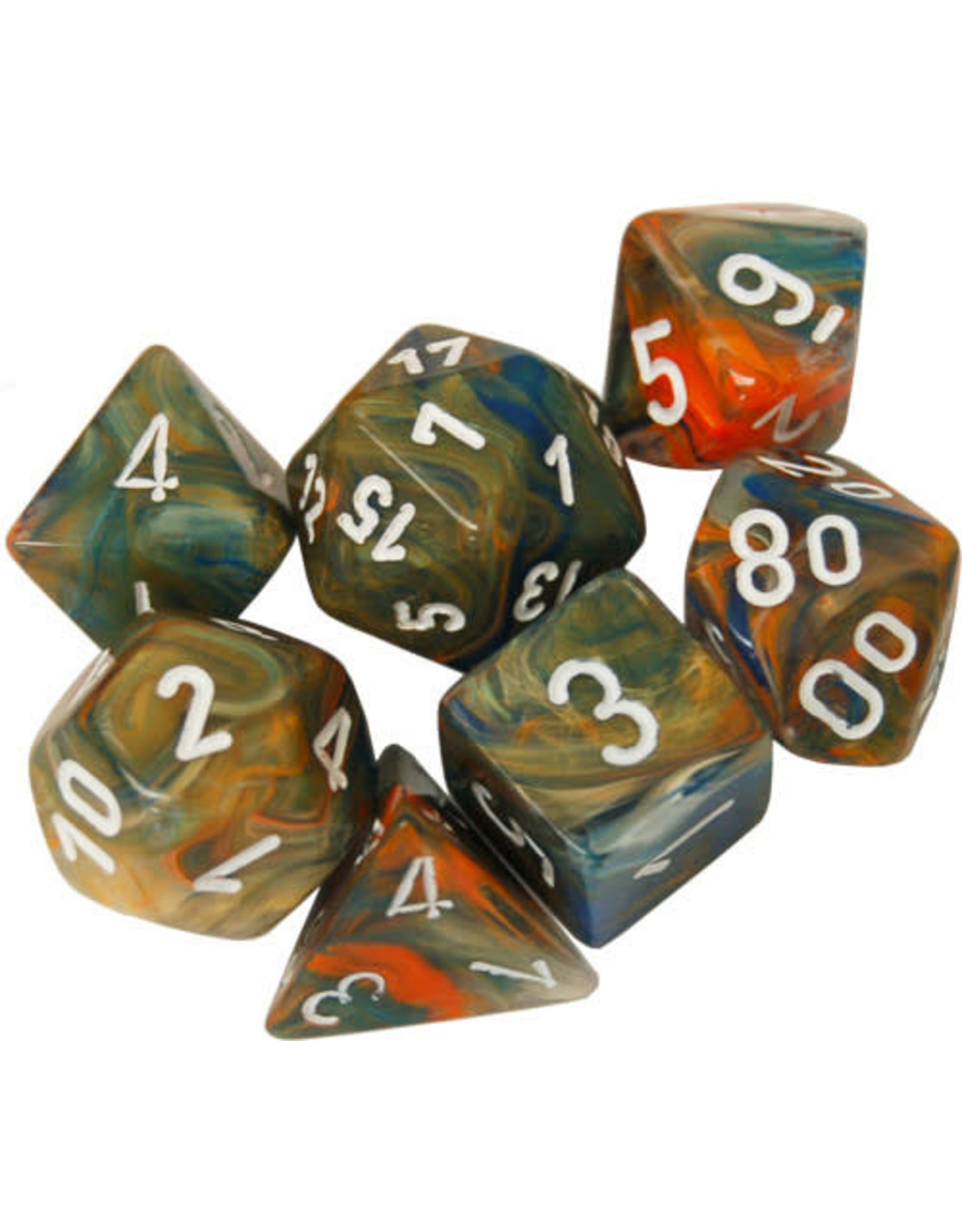 Chessex Chessex: 7-Die Set: Festive: Autumn/White