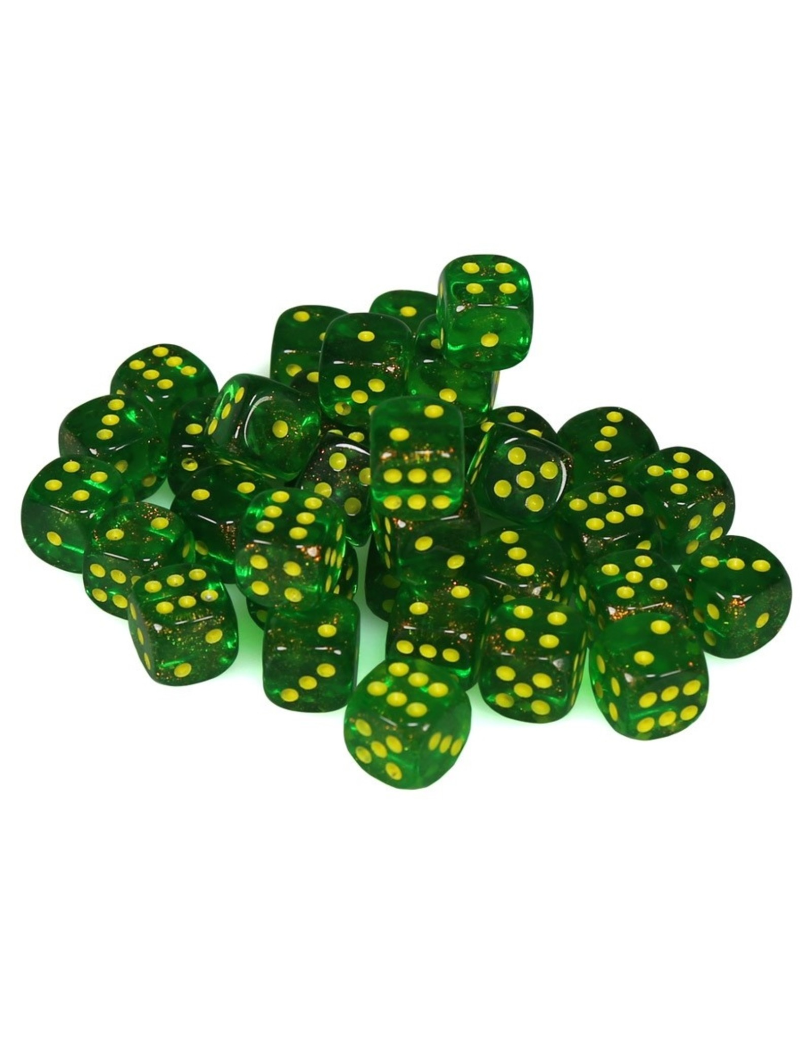 Chessex Chessex: d6Cube 12mm: Borealis - Maple Green/Yellow