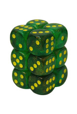 Chessex Chessex: d6Cube 16mm: Borealis - Maple Green/Yellow