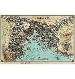 GaleForce9 GF9: Vinyl Game Mat: Baldur's Gate Map