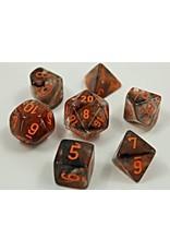 Chessex Chessex: 7-Die Set: Lab Dice: Nebula: Copper Matrix/orange Luminary