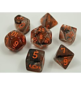 Chessex Chessex: 7-Die Set: Lab Dice: Nebula: Copper Matrix/orange Luminary