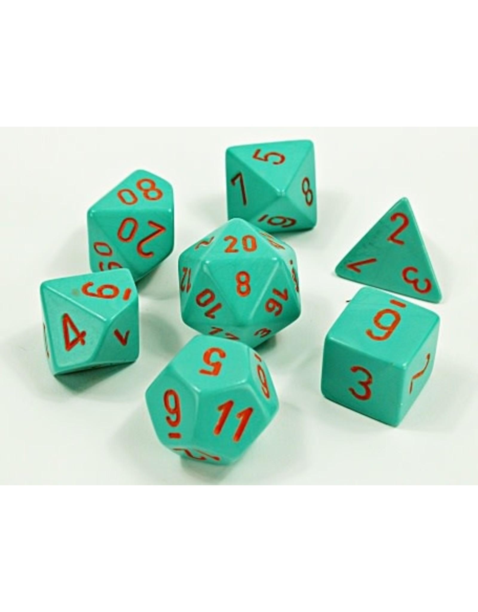 Chessex Chessex: 7-Die Set: Lab Dice: Heavy: Turquoise/orange