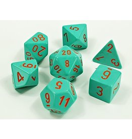 Chessex Chessex: 7-Die Set: Lab Dice: Heavy: Turquoise/orange