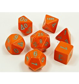 Chessex Chessex: 7-Die Set: Lab Dice: Heavy: Orange/turquoise