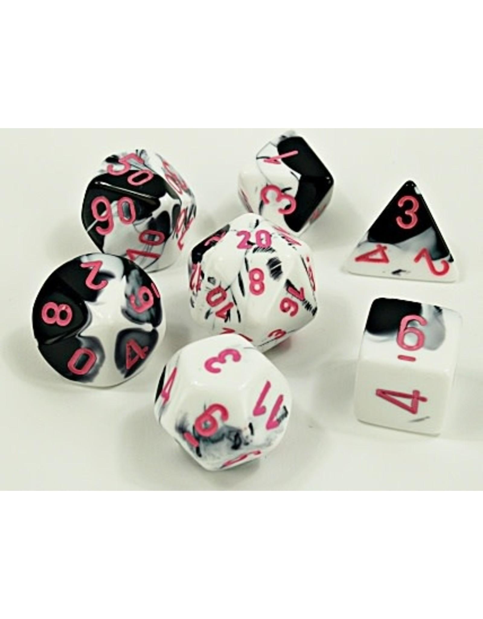 Chessex Chessex: 7-Die Set: Lab Dice: Gemini: Black-White/pink