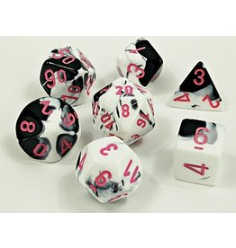 Chessex Chessex: 7-Die Set: Lab Dice: Gemini: Black-White/pink