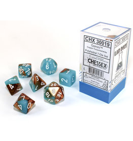 Chessex Chessex: 7-Die Set Gemini: Copper-Turqiose/White