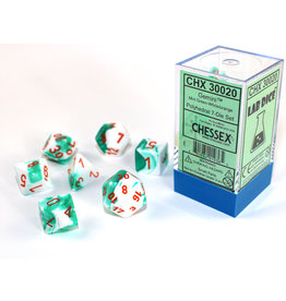 Chessex Chessex: 7-Die Set Gemini: Mint Green-White/Orange