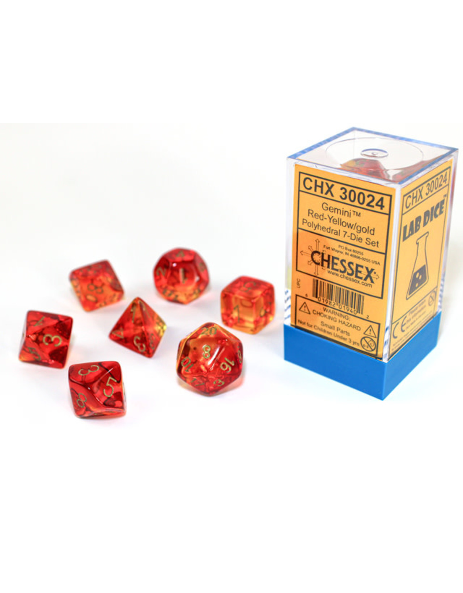 Chessex Chessex: 7-Die Set Gemini: Red-Yellow/Gold