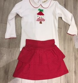 Holiday Toddler Set - Tree Top with Ruffle Skort