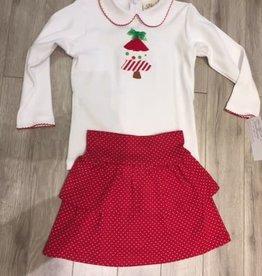 Holiday Girls Set - Tree Top with Ruffle Skort