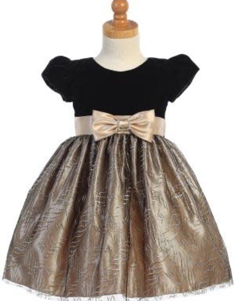 Gold Vlvt Glttr Dress