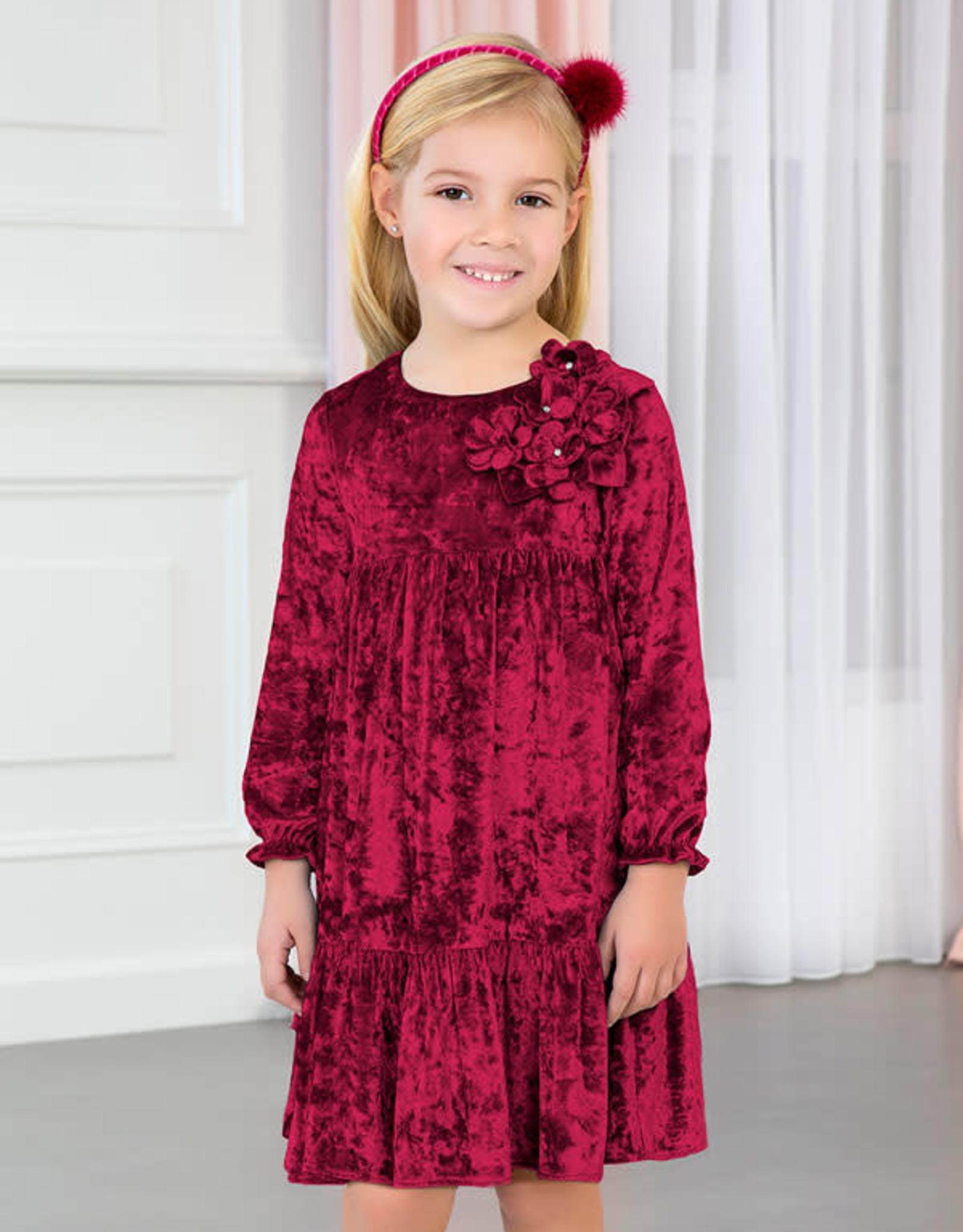 Abel & Lula Raspberry Velvet Dress