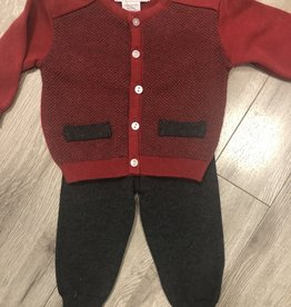 Carriage Boutique Red Grey Knit Set