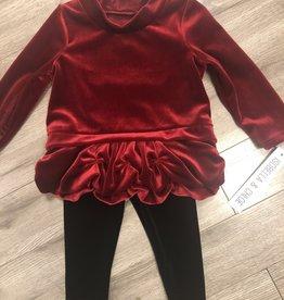 Isobella & Chloe L/S Red Velvet set