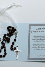 Wood Bead - Silver Chalice rosary