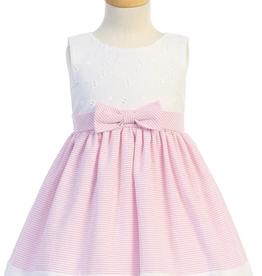 Cotton Emb Eyelet Seersucker Pink Dress Toddler
