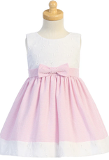 Emb Eyelet Seersucker Pink Dress Baby
