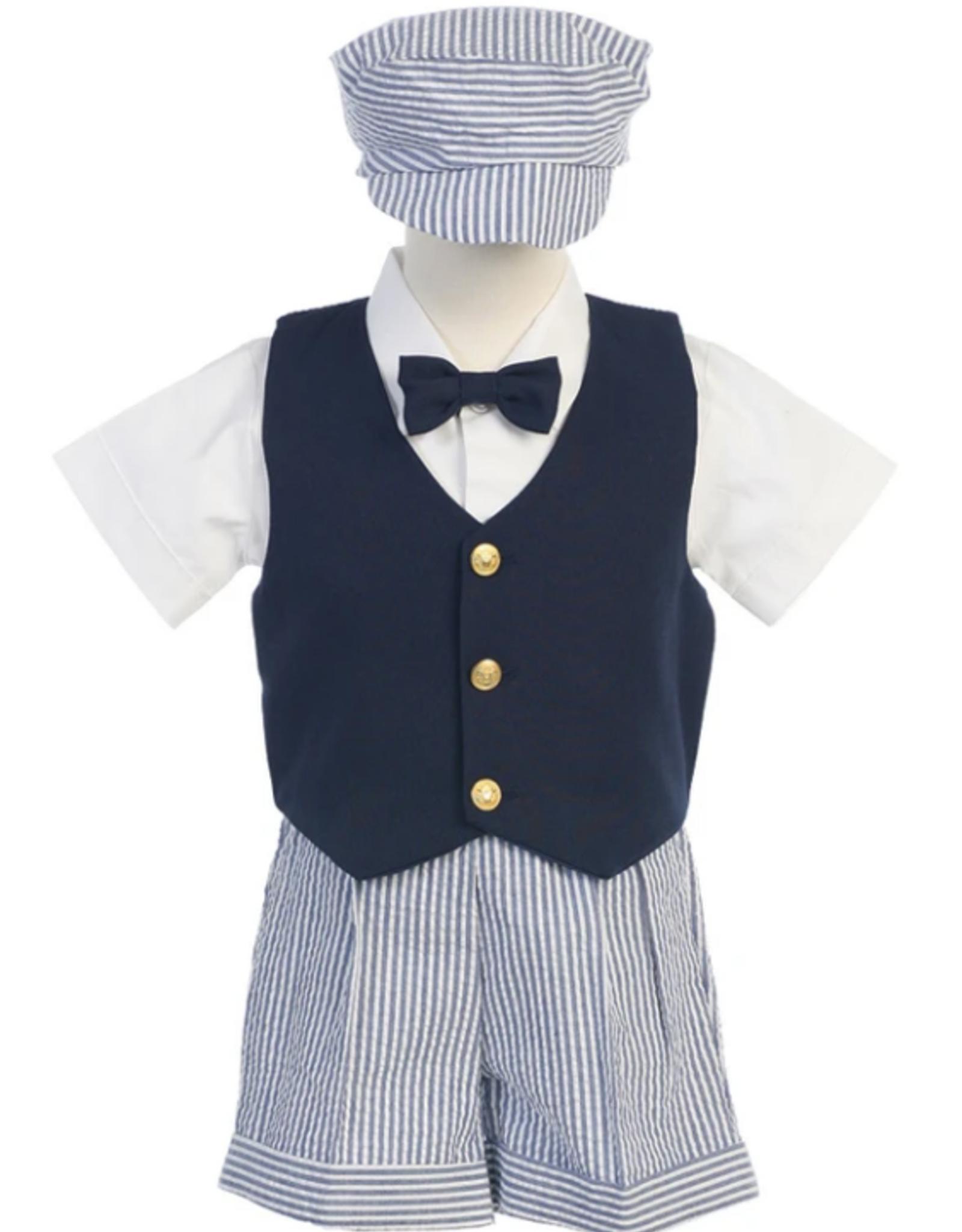 Navy vest w seerskr shorts hat