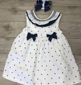 Navy Dress Set Gift w/Hair Bow 6-9M