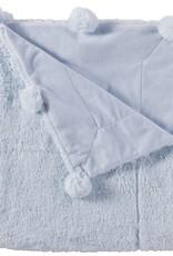 Blue pom pom blanket