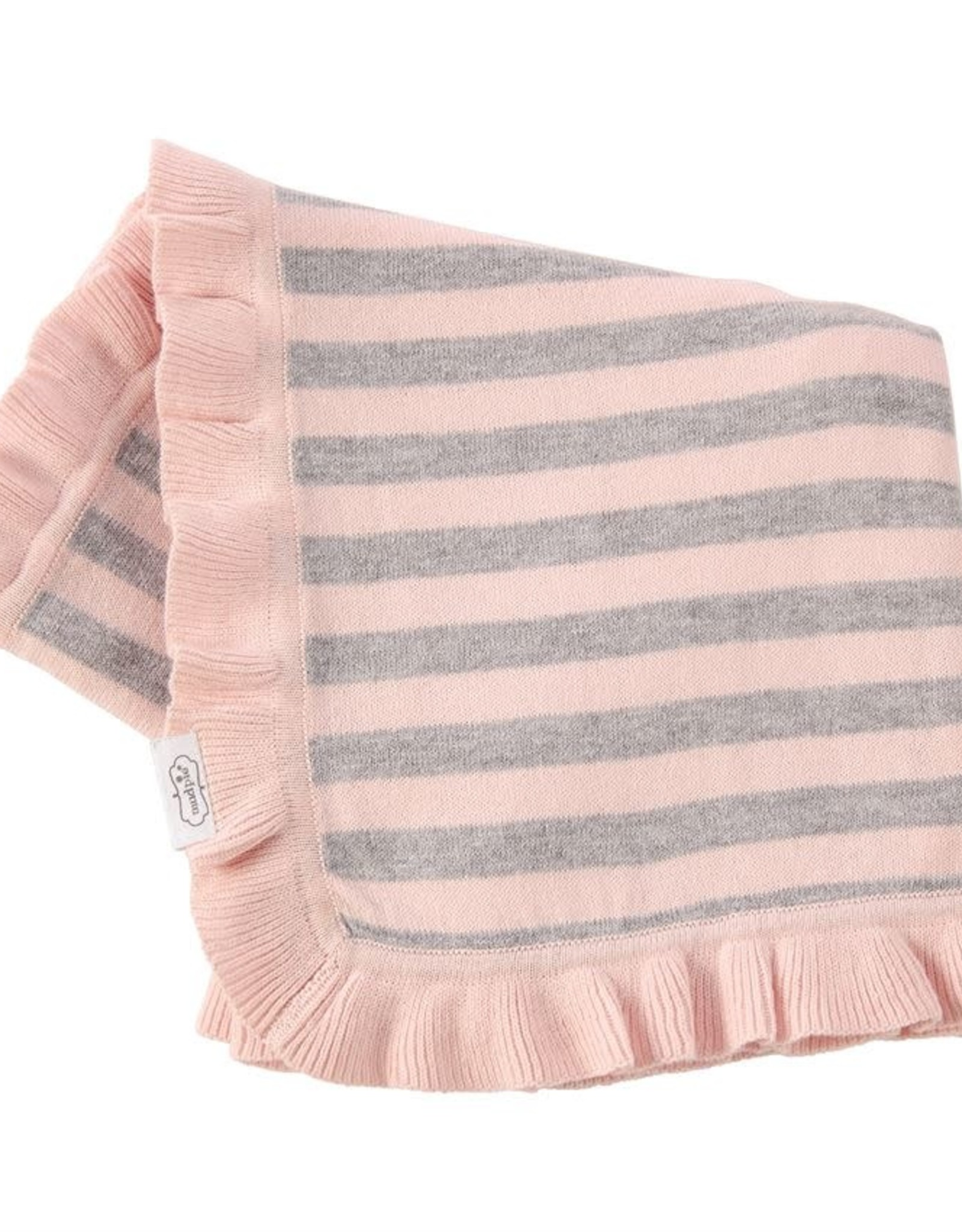 Pink and Grey Ruffle Knit Blanket