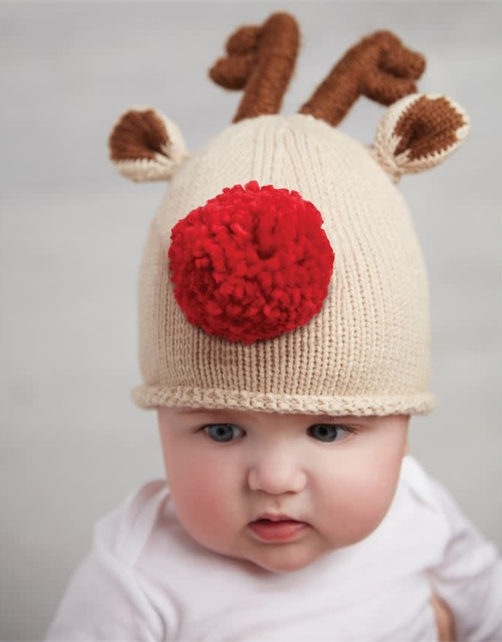 Red Reindeer Knit Hat 0-6mos