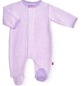 Magnificent Baby Orchid stripe velour footie
