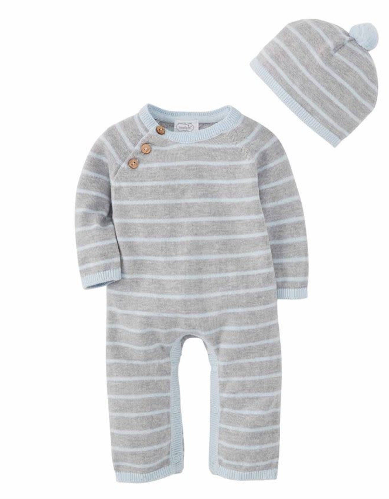 Blue and Gray Knitted Set