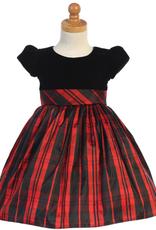 Red Velvet & Plaid Dress