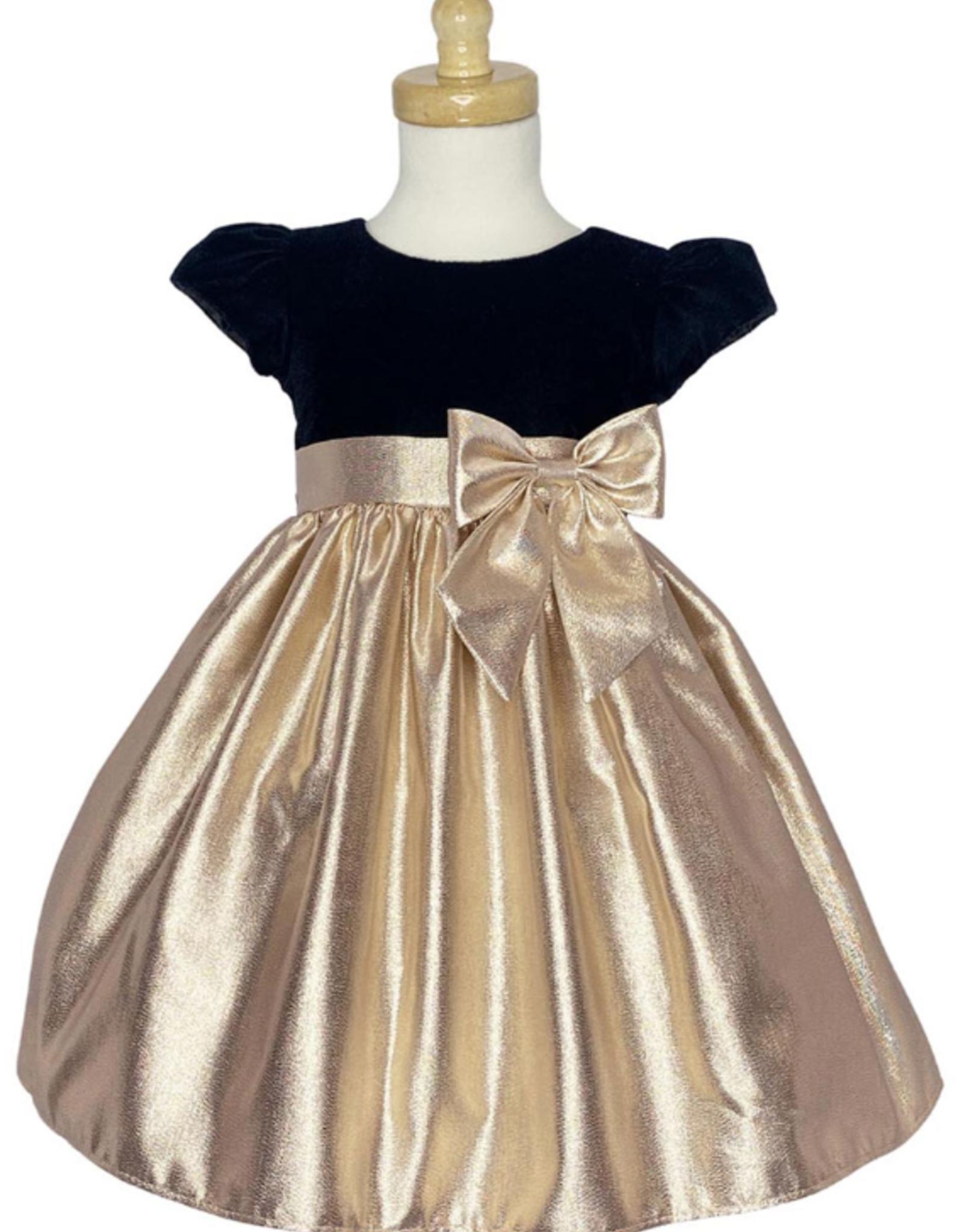 Gold Velvet & Metallic Dress Tod